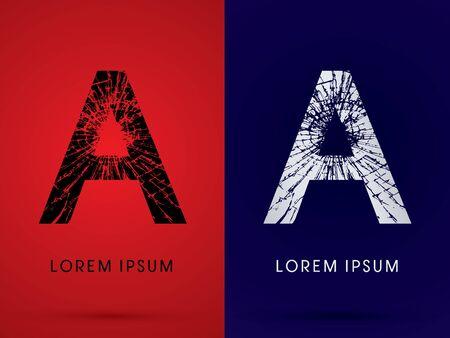 broken glass: A ,Font , destroy, broken mirror,  broken glass, graphic vector.