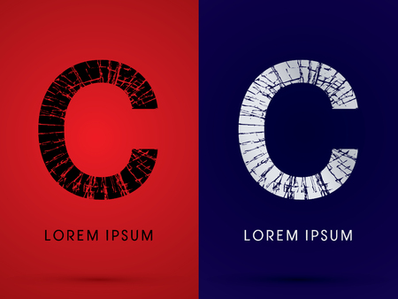 destroy: C ,Font , destroy, broken mirror,  broken glass, graphic vector.