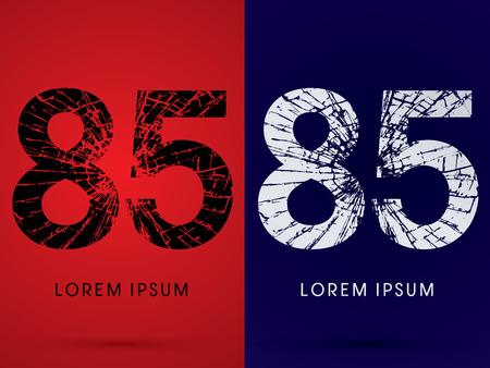destroy: 85 ,Font , destroy, broken mirror,  broken glass, graphic vector.