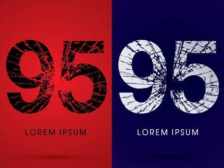 95: 95 ,Font , destroy, broken mirror,  broken glass, graphic vector. Illustration