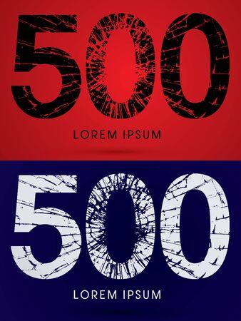 destroy: 500 ,Font , destroy, broken mirror,  broken glass, graphic vector. Illustration