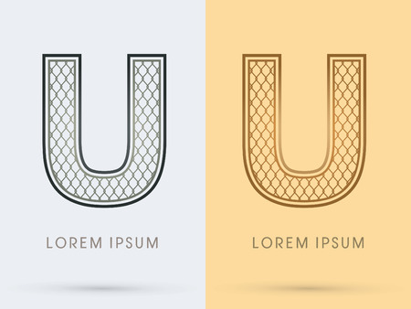 nickel: U Luxury Font, Concept  Gold and Silver, Wire Mesh, steel, net, graphic vector. Illustration