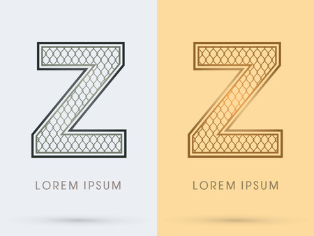 Z, Luxury Font, Concept  Gold and Silver, Wire Mesh, steel, net, graphic vector.