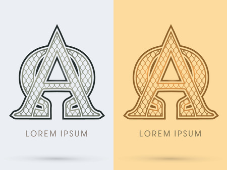 alpha: Alpha and Omega, Luxury Font, Concept  Gold and Silver, Wire Mesh, steel, net, graphic vector.