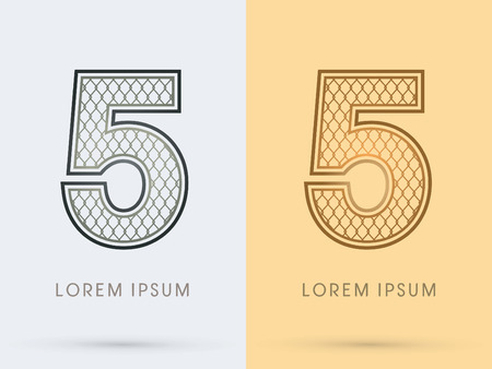 5, Luxury Font, Concept  Gold and Silver, Wire Mesh, steel, net, graphic vector. Illustration