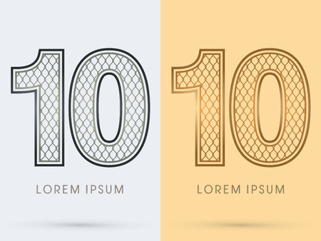 10, Luxury Font, Concept  Gold and Silver, Wire Mesh, steel, net, graphic vector. Illustration