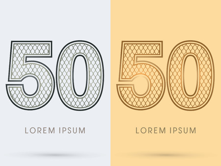 nickel: 50 Luxury Font, Concept  Gold and Silver, Wire Mesh, steel, net, graphic vector
