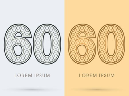 60 Luxury Font, Concept  Gold and Silver, Wire Mesh, steel, net, graphic vector