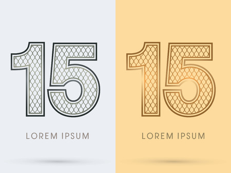 nickel: 15 Luxury Font, Concept  Gold and Silver, Wire Mesh, steel, net, graphic vector