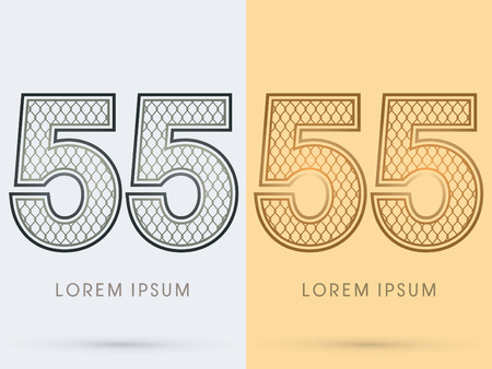 55 Luxury Font, Concept  Gold and Silver, Wire Mesh, steel, net, graphic vector Illustration