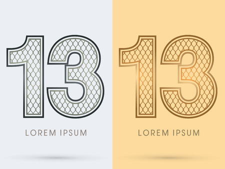 13 Luxury Font, Concept  Gold and Silver, Wire Mesh, steel, net, graphic vector