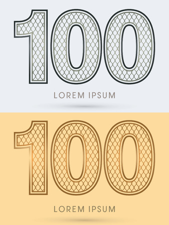 100 Luxury Font, Concept  Gold and Silver, Wire Mesh, steel, net, graphic vector