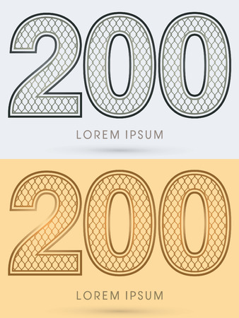 nickel: 200 Luxury Font, Concept  Gold and Silver, Wire Mesh, steel, net, graphic vector Illustration