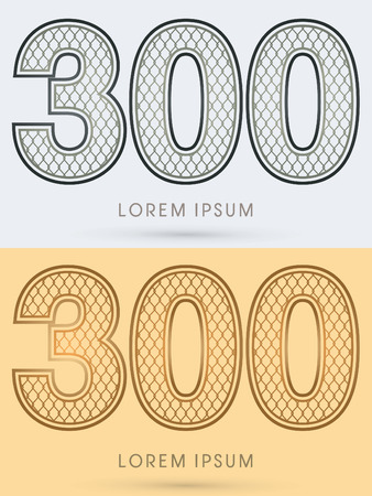 300 Luxury Font, Concept  Gold and Silver, Wire Mesh, steel, net, graphic vector Illustration
