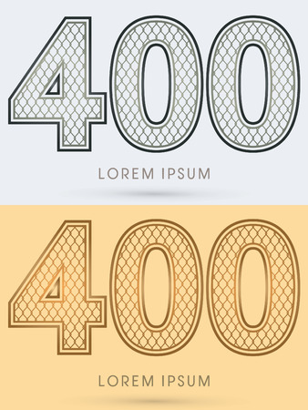 400 Luxury Font, Concept  Gold and Silver, Wire Mesh, steel, net, graphic vector Illustration