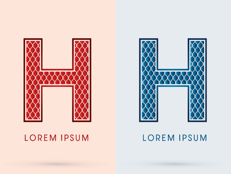 H, Font, Concept  Hot and Cool, Wire Mesh, steel, net, graphic vector.