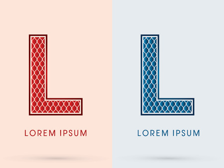l plate: L, Font, Concept  Hot and Cool, Wire Mesh, steel, net, graphic vector. Illustration