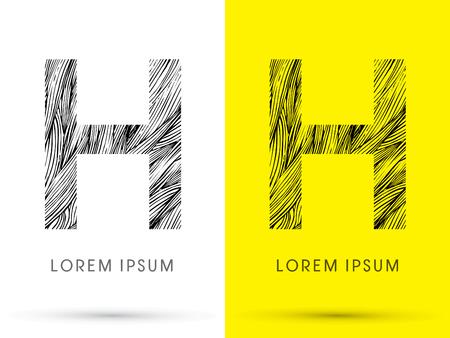 venation: H ,Font , hair line, graphic vector.