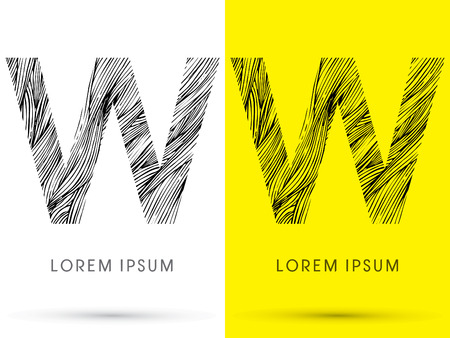 W ,Font , hair line, graphic vector.