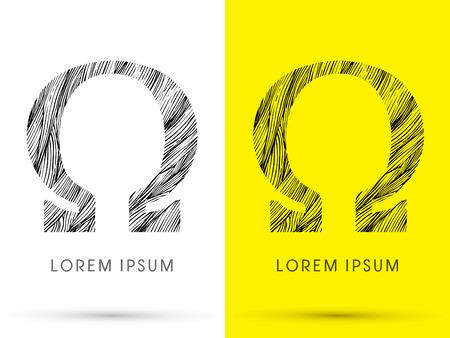 venation: Omega ,Font , hair line, graphic vector.