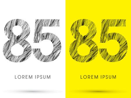 venation: 85 ,Font , hair line, graphic vector.