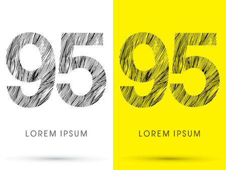 95: 95 ,Font , hair line, graphic vector.