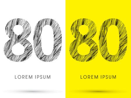 venation: 80 ,Font , hair line, graphic vector.