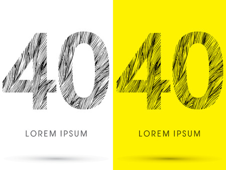 40: 40 ,Font , hair line, graphic vector.