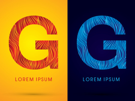 G ,Font ,Text, designed using line fire and cool, graphic vector.