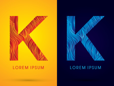 fire font: K ,Font ,Text, designed using line fire and cool, graphic vector.