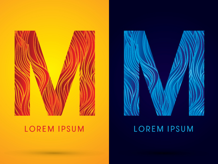 fire font: M ,Font ,Text, designed using line fire and cool, graphic vector.
