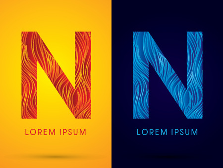 fire font: N ,Font ,Text, designed using line fire and cool, graphic vector.