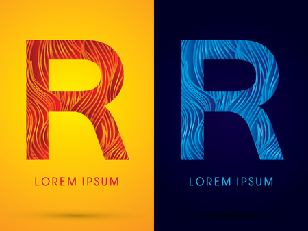 fire font: R ,Font ,Text, designed using line fire and cool, graphic vector.