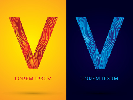 venation: V ,Font ,Text, designed using line fire and cool, graphic vector.