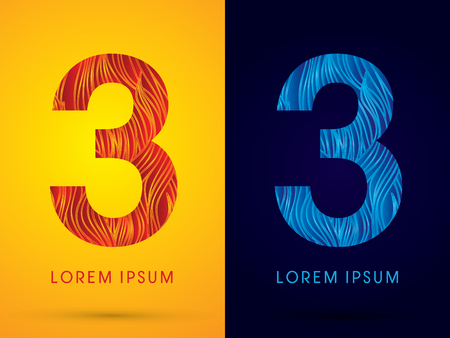 fire font: 3 ,Font ,Text, designed using line fire and cool, graphic vector. Illustration