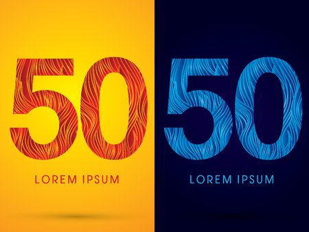 50 ,Font ,Text, designed using line fire and cool, graphic vector. Illustration