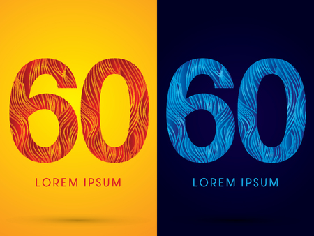 60 ,Font ,Text, designed using line fire and cool, graphic vector.