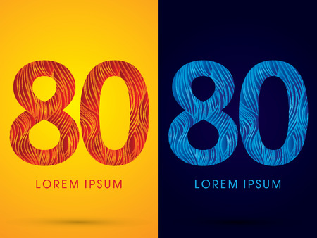 80 ,Font ,Text, designed using line fire and cool, graphic vector.