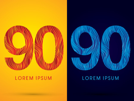 90 ,Font ,Text, designed using line fire and cool, graphic vector.