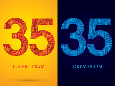 fire font: 35 ,Font ,Text, designed using line fire and cool, graphic vector. Illustration
