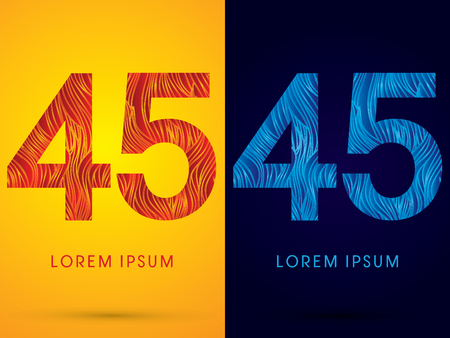 45 ,Font ,Text, designed using line fire and cool, graphic vector.