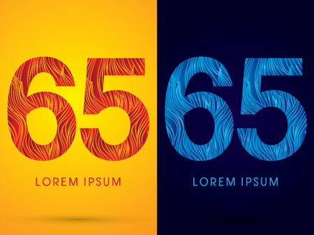 venation: 65 ,Font ,Text, designed using line fire and cool, graphic vector.