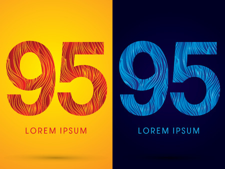 95 ,Font ,Text, designed using line fire and cool, graphic vector.