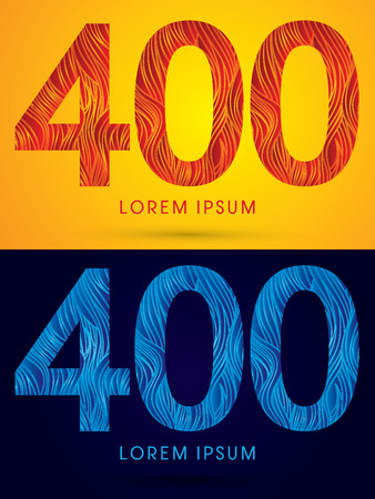 venation: 400 ,Font ,Text, designed using line fire and cool, graphic vector. Illustration