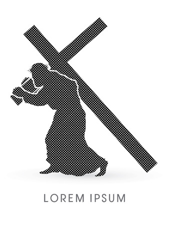 crucify: Jesus Christ carrying cross, design using line and dot, graphic vector