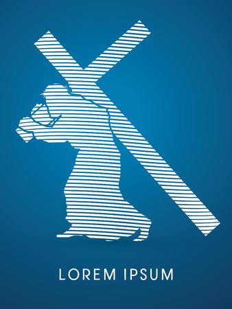 Jesus Christ carrying cross, design using line white wave, graphic vector Illustration