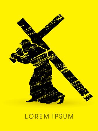 シルエット、クロスを運ぶイエス ・ キリストは、グランジ グラフィック ベクトルを使用して設計  イラスト・ベクター素材