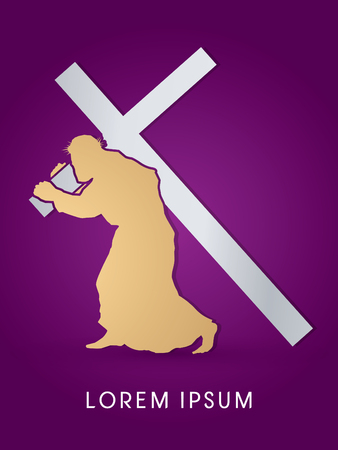 carrying the cross: Silhouette, Jesus Christ carrying cross, designed using gold and silver colors, graphic vector