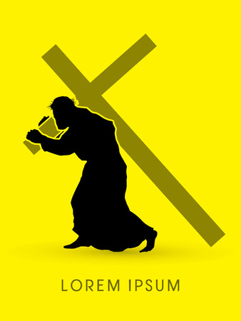 crucify: Silhouette, Jesus Christ carrying cross, graphic vector