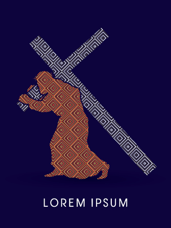 Jesus Christ carrying cross, design using luxury line square, graphic vector